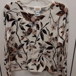Talbots Cream Print Over the Head Sweater
